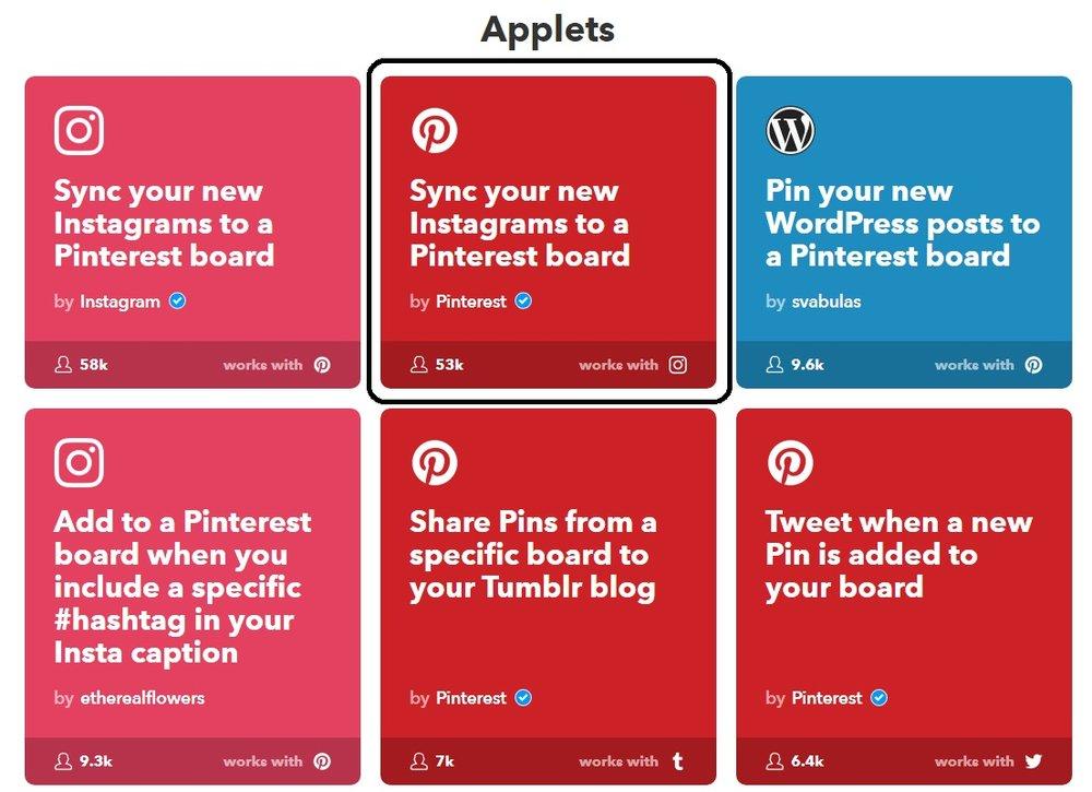 Descubrí las recetas de IFTTT para Pinterest acá:  https://ifttt.com/pinterest