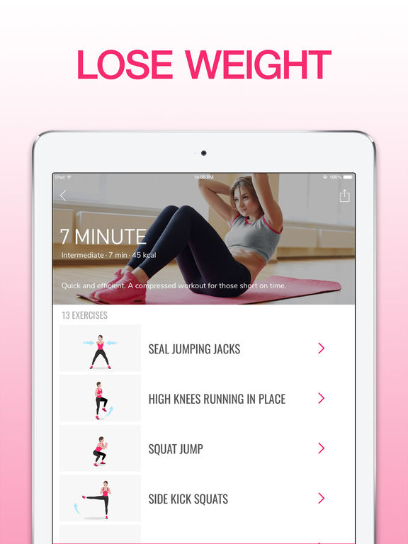 La app Workout for Women es gratuita y demasiado fácil de usar!  Descargala para iOS acá.