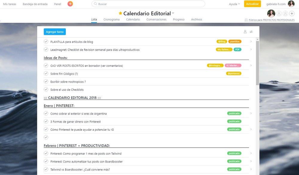 Ejemplo de Proyecto para un Calendario Editorial