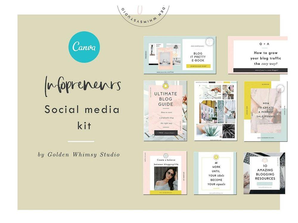 El Kit Infopreneur trae plantillas en Canva para Pinterest, Instagram y Facebook.  Descargatelo en este link.