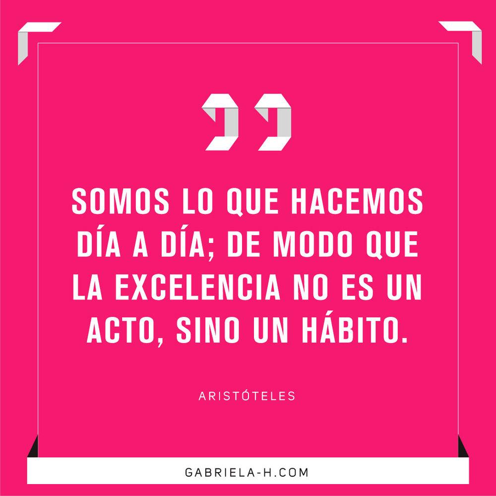 Somos lo que hacemos día a día; de modo que la excelencia no es un acto, sino un hábito. Aristóteles #habitos #motivacion #exito #frases #productividad