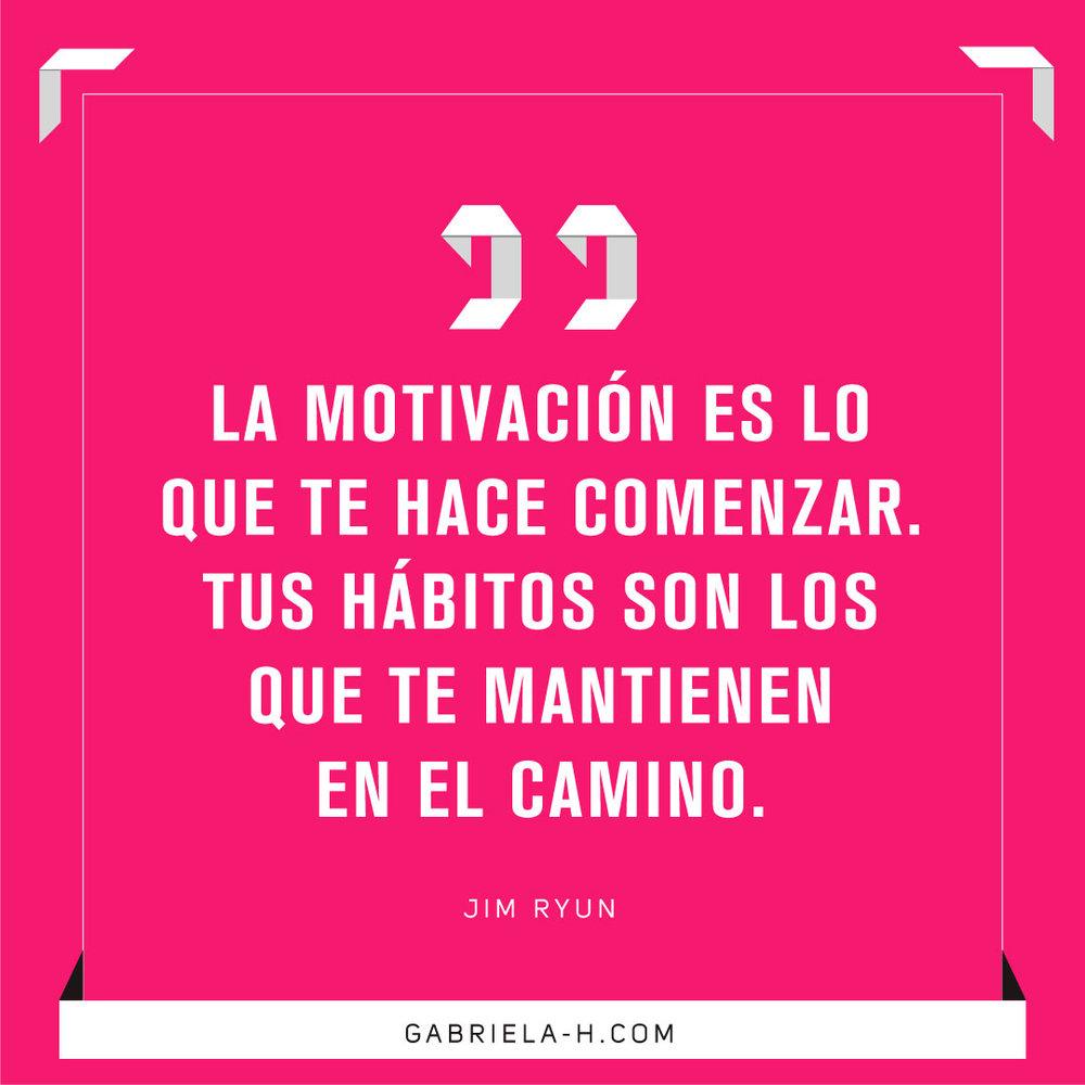 """""""La motivación es lo que te hace comenzar. Tus hábitos son los que te mantienen en el camino."""" Jim Ryun #habitos #motivacion #productividad #frases"""