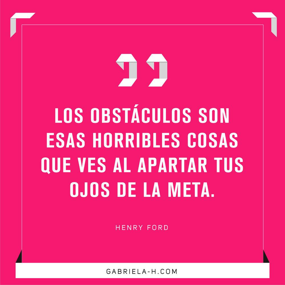 """""""Los obstáculos son esas horribles cosas que ves al apartar tus ojos de la meta"""". - Henry Ford #productividad #objetivos #motivacion #frases"""