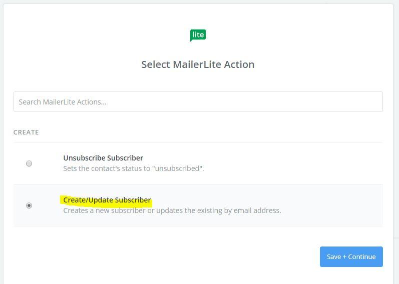 Selecciona la opción de crear o actualizar tu suscriptor.