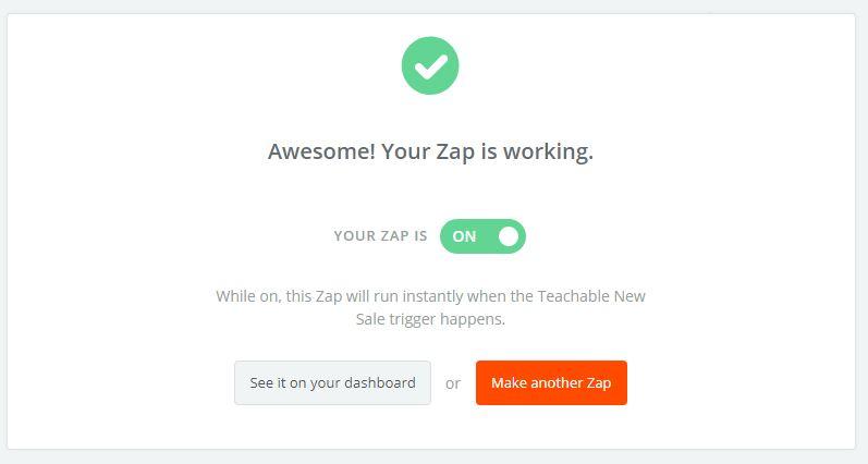 Luego de hacer una prueba, habilita tu ZAP para que empiece a funcionar!