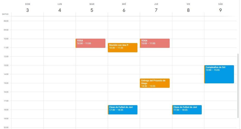 Calendario con Eventos y Actividades Semanales
