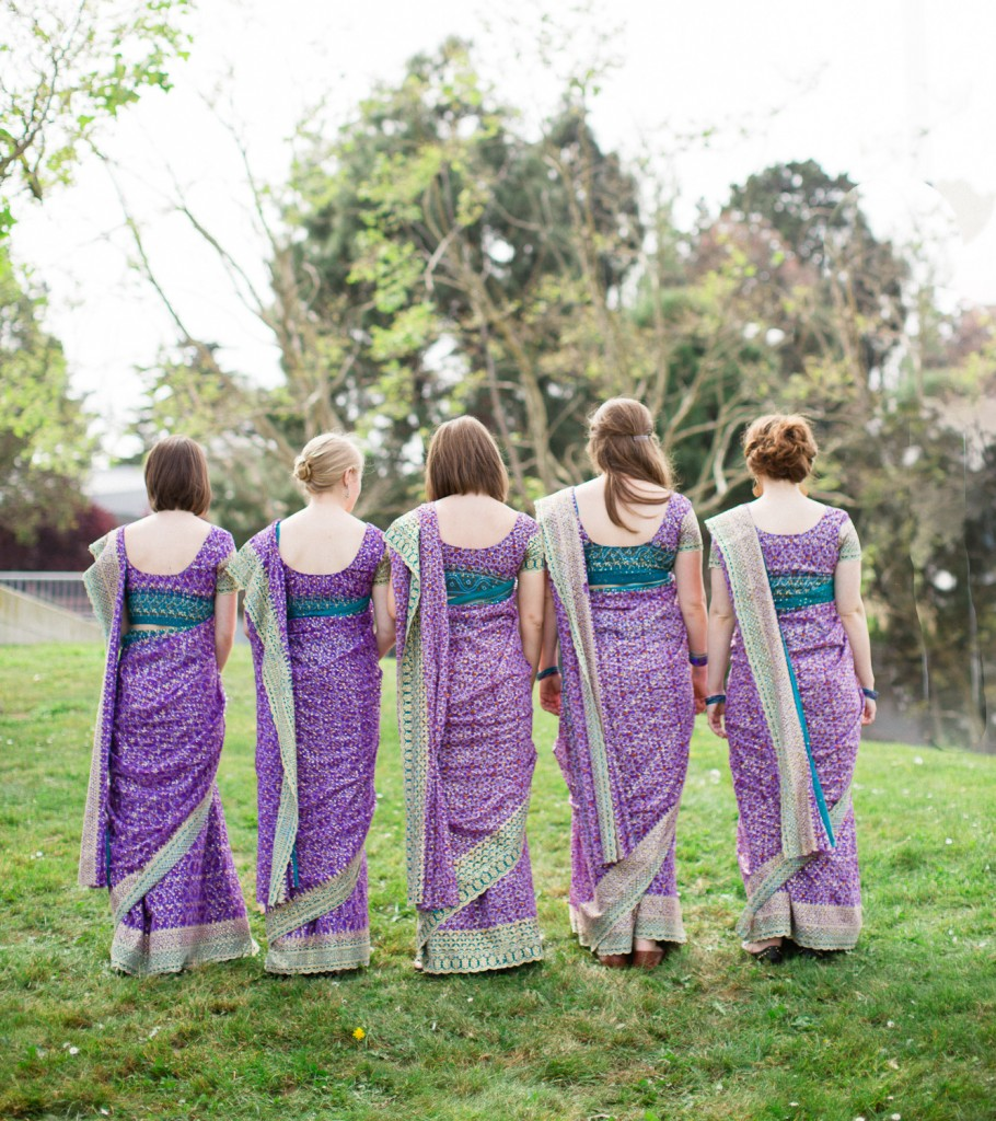 San Francisco wedding, Indian wedding, bridesmaids in saris, Rochelle Louise Photography