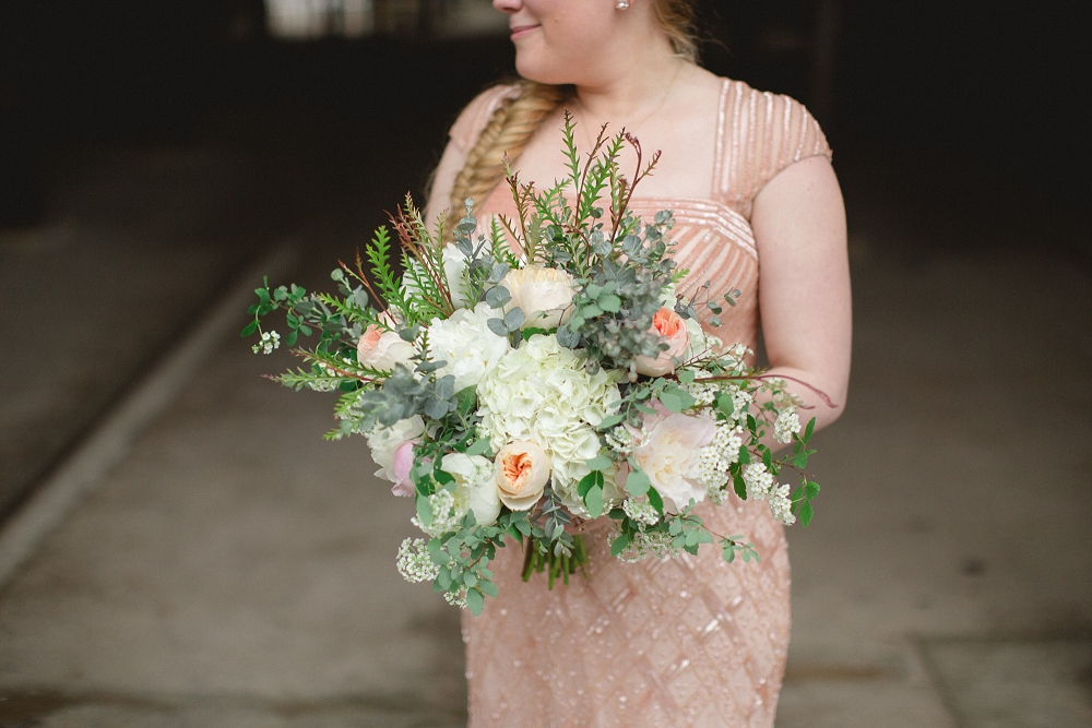 modern blush wedding, wedding bouquet, Modern Minneapolis Wedding, Mill City Museum wedding, Minneapolis wedding photographer, Rochelle Louise Photography, Adrianna Papell, blush wedding