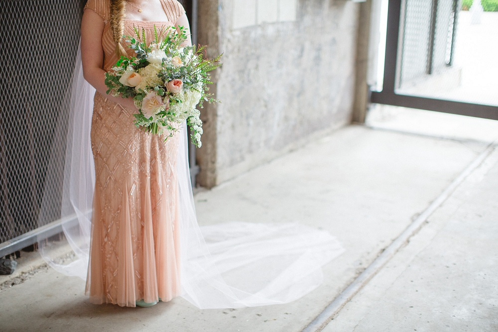modern blush wedding, organic wedding bouquet, pink and white bouquet, Modern Minneapolis Wedding, Mill City Museum wedding, Minneapolis wedding photographer, Rochelle Louise Photography, Adrianna Papell, blush wedding