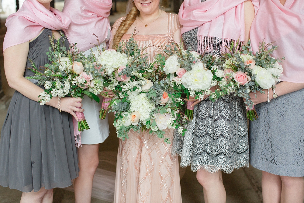 modern blush wedding, white and pink bouquets, organic bouquets, Modern Minneapolis Wedding, Mill City Museum wedding, Minneapolis wedding photographer, Rochelle Louise Photography, Adrianna Papell, blush wedding