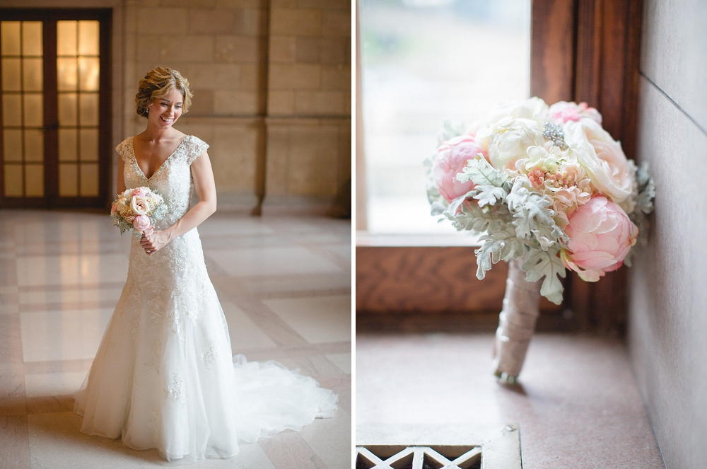 james j hill library wedding, bride, bridal bouquet, DIY bouquet, James J. Hill Library wedding, St. Paul wedding, Minnesota wedding photographer, St. Paul wedding venue, Rochelle Louise Photography, romantic library wedding