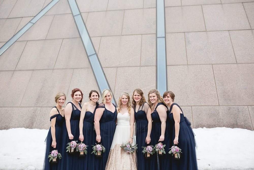 Rochelle Louise Photography, McNamara Alumni Center wedding, Minneapolis wedding photographer, winter wedding, gold wedding, Truvelle Bridal, a&be bridal shop, A'bulae wedding, modern wedding, modern gold wedding, gold wedding dress, navy blue wedding, painted gold cake, Minnesota wedding photographer, fine art wedding photographer, photojournalist wedding photographer, University of Minnesota wedding, Weisman wedding, Weisman Art Museum wedding