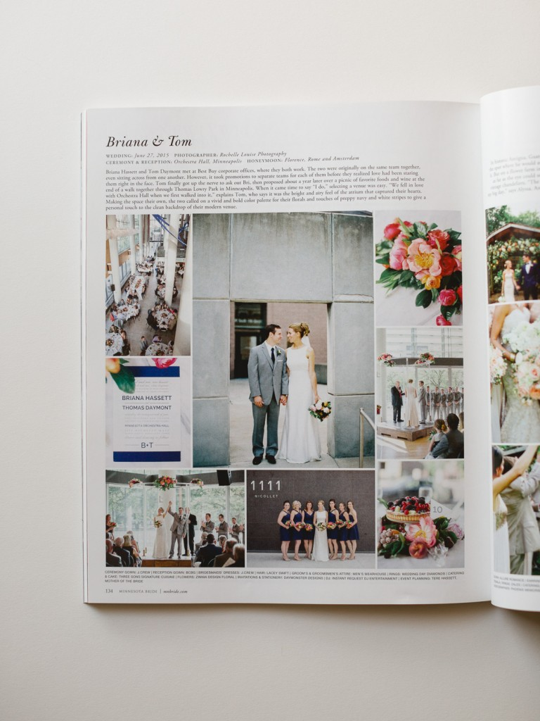 featured in MN Bride, wedding feature, Minneapolis wedding photographer, Rochelle Louise Photography, modern wedding, Orchestra Hall wedding, colorful wedding
