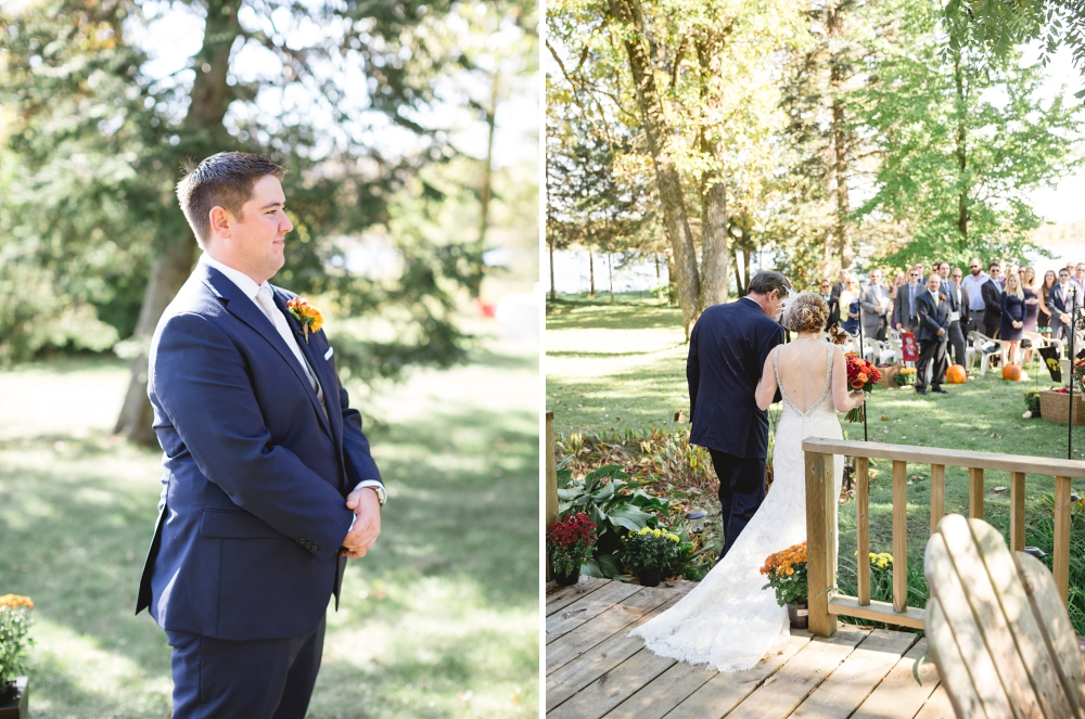 Rochelle Louise Photography, fall wedding, Wisconsin wedding, Wisconsin wedding photographer, fine art Wisconsin wedding, lake wedding, outdoor wedding, fall wedding, rustic wedding, lace wedding dress, navy groom suit, sunny wedding