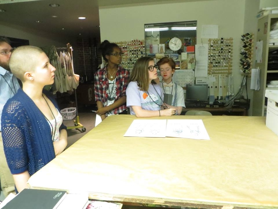 The class of 2014 learning about design in Portland Center Stage's costume shop.
