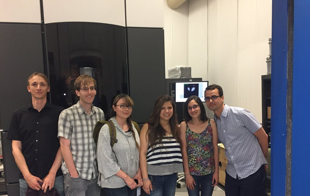 june 20, 2017: Checking out the Titan Krios at NYSBC.  Our scopes should be coming soon! Left to right: Nicolas, Casey, Evelyn, Ljuvi, Gira, and Damian.