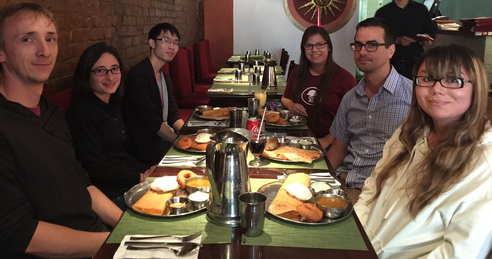 September 15, 2017: South indian lunch to welcome our new rotation student, ruoyu chen! Left to right: Nicolas, Gira, Ruoyu, Ljuvi, Damian, and Evelyn.