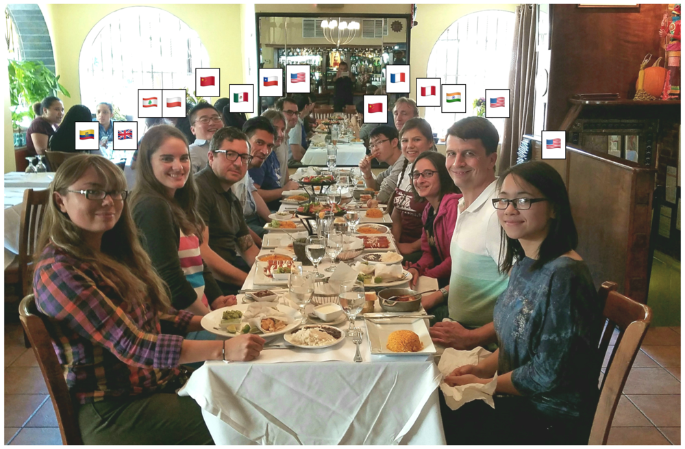 October 6, 2017: Lunch with the Armache lab: Mostly just for fun, and to welcome our new post-doc, Georgia Isom! Left to right (with flags of country of birth): Evelyn, Georgia, K.J., Igor, Miao, Pablo, Damian, Nicolas, Ruoyu, Ljuvica, Gira, Dan, and Jenny.