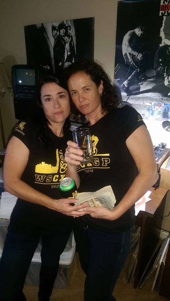 Darcy and Kelly the night before the first WSCXGP in 2014 testing out all the schwag and keeping the prize money safe!