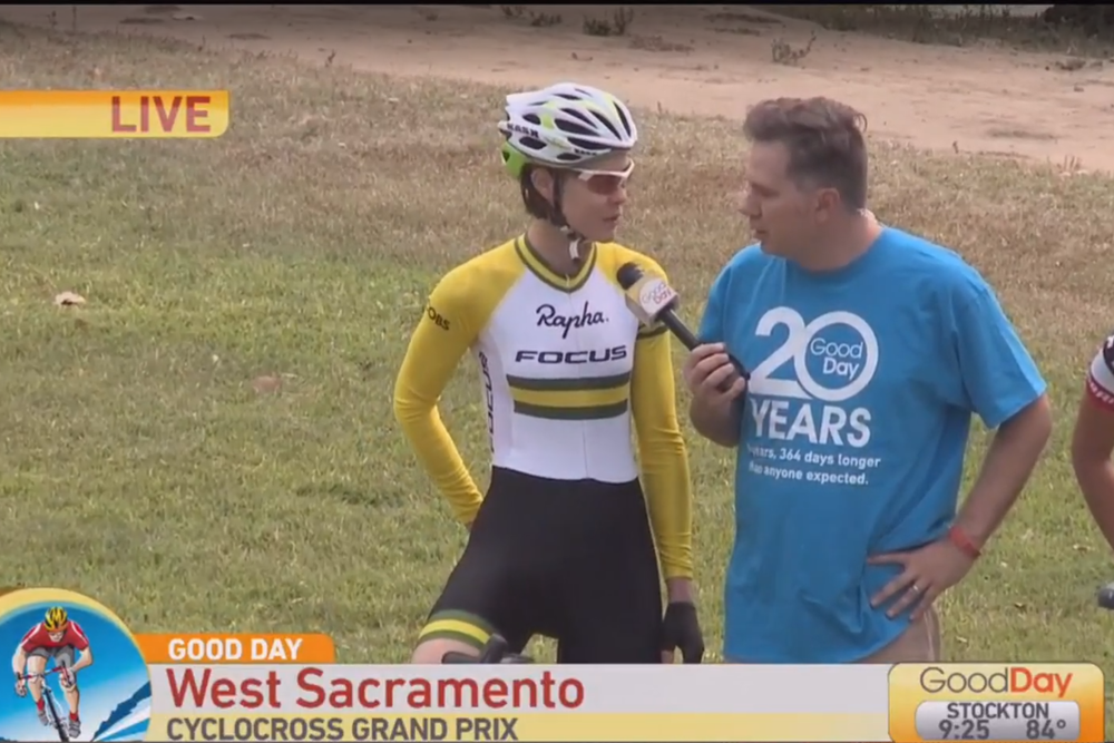 "CBS LOCAL - Good Day Sacramento ""Cyclocross Heckle Hill"" - Mayor Cabaldon, Lisa Jacobs, and Emily Kachorek racy Cody."