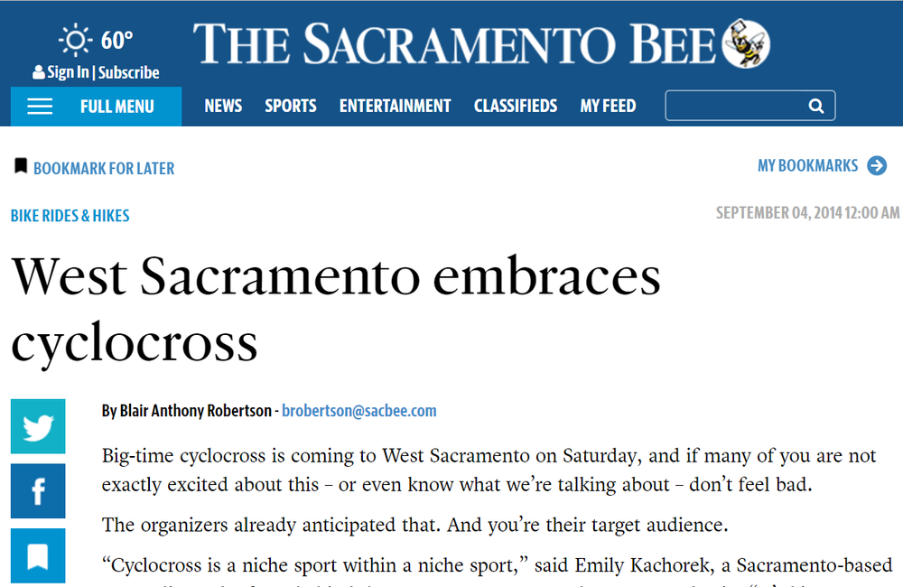 "NEWS STORY:  ""West Sacramento embraces cyclocross"""