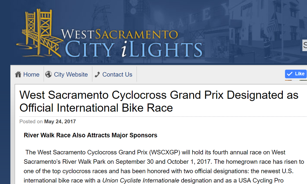 PRESS RELEASE MAY 2017WSCXGP DESIGNATED AS OFFICIAL INTERNATIONAL BIKE RACERiver Walk Race Also Attracts Major Sponsors -
