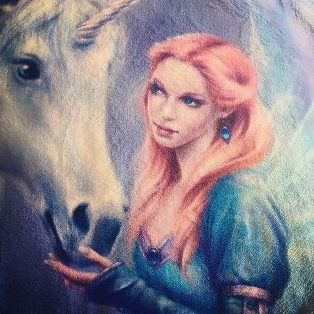 Cozy super soft fleece blankets just came in the mail! I've got a limited number of these so check them out at the link in my bio or silverstars.us and get 15% off everything in my shop with code THANKS2017 #fantasyart #fairy #unicorn #fleeceblanket