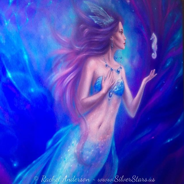 "I went through all my ""in progress"" files last night and found I had a ton of stuff I had forgotten all about. This one is on the top of the list to finish 🐬🐠🐳🐡🐟💙 . . #mermaid #workinprogress #fantasyart #magicalrealism #digitalpainting #seahorse"