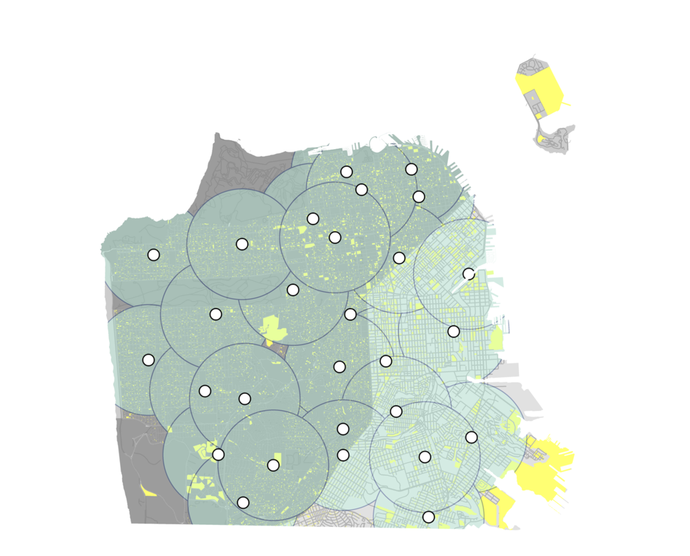 This analysis shows a .5 mile radius around each library and the major residential growth in yellow over the next 20 years.