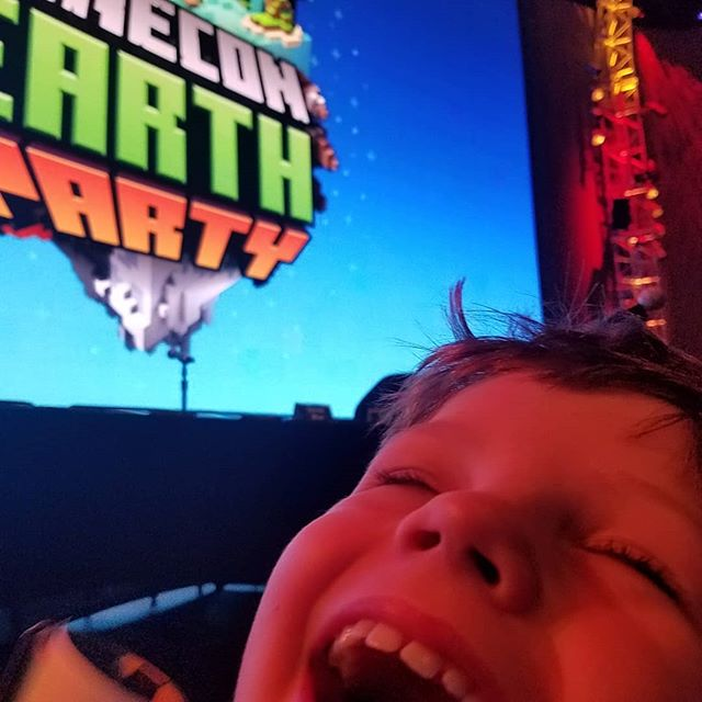 MineCon day!  He's stoked!  #minecraft #minecon #mopop #mopopseattle #stoked