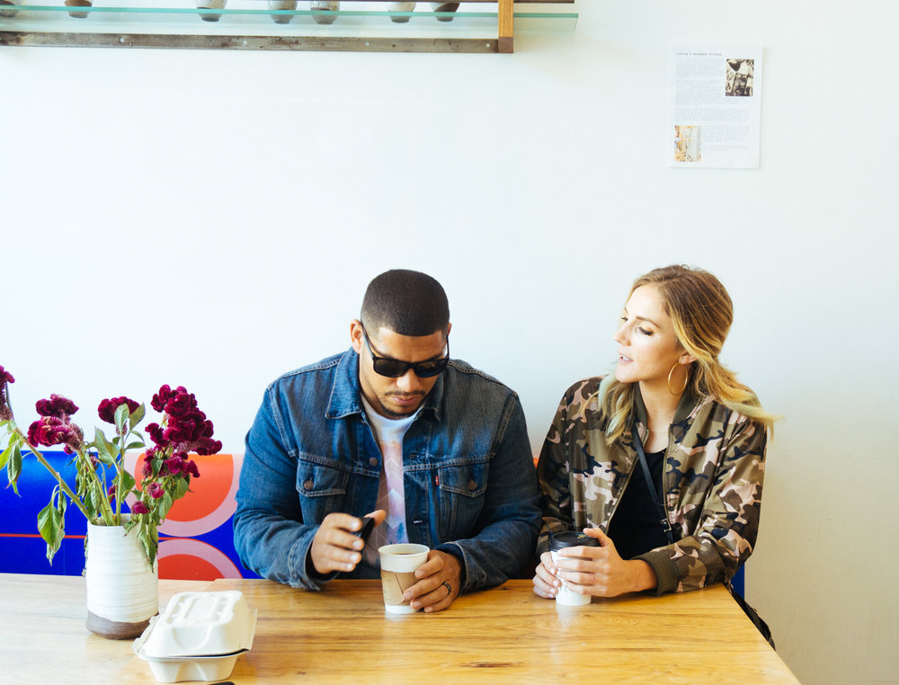 Eddie and Sarah enjoy a cup of joe in the Dogpatch