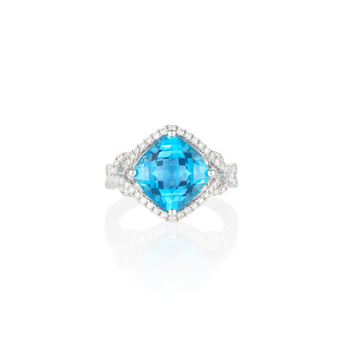 Jewels By Jacob White Gold Diamond And Blue Topaz Ring Skibell
