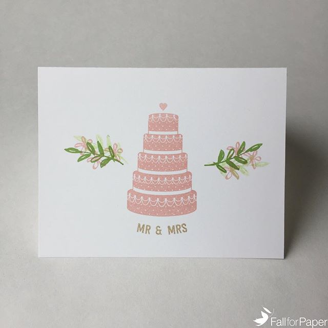Wedding cards now available on fallforpaper.com! Colours can be customized to suit the special day. #fallforpaper #handmade #cards #prints #paper #wedding #cake #custom #yyc