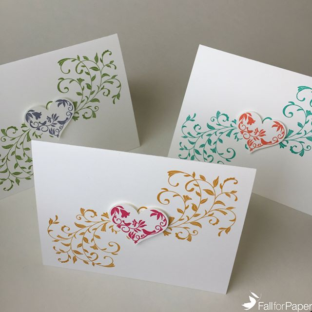 Mother's Day cards now available on fallforpaper.com! Stocked in 3 colour combinations - pink & gold, purple & green, and coral & teal! Which one is your favourite? #fallforpaper #handmade #cards #prints #paper #mothersday #heart #love #yyc