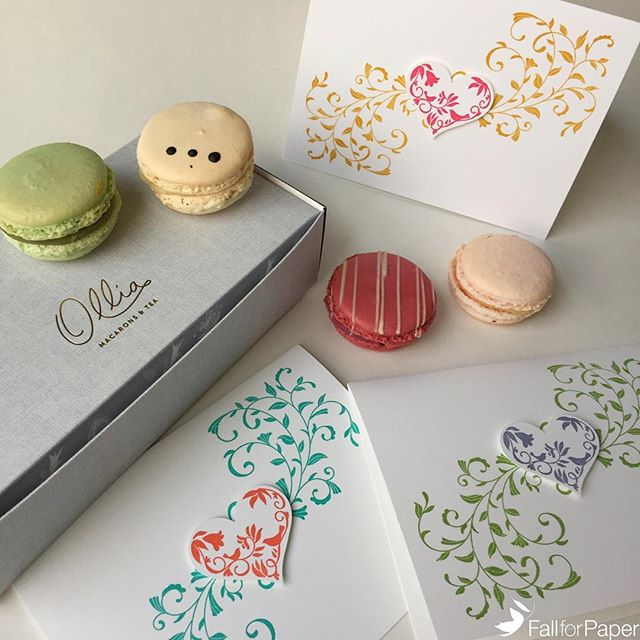 Perfect gift for mom this Sunday: macarons @byollia and a fallforpaper.com card! It's not too late to order a card for pick up in #yyc! #fallforpaper #handmade #cards #prints #paper #mothersday #heart #love #macarons #ollia