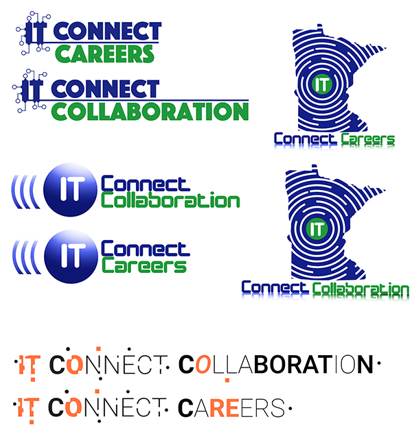 A variety of logo design concepts for Connect Collaboration