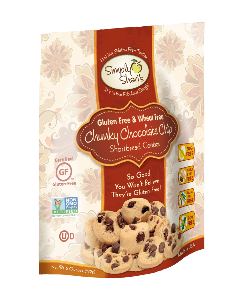 Simply Shari's Gluten Free Chunky Chocolate Chip Shortbread Cookies