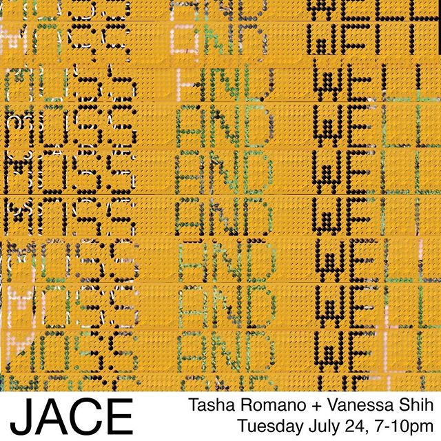 Tasha Romano + Vanessa Shi MOSS AND WELL Tuesday July 24th, 7-10pm Two person exhibition.  119 w 36th pl 90007