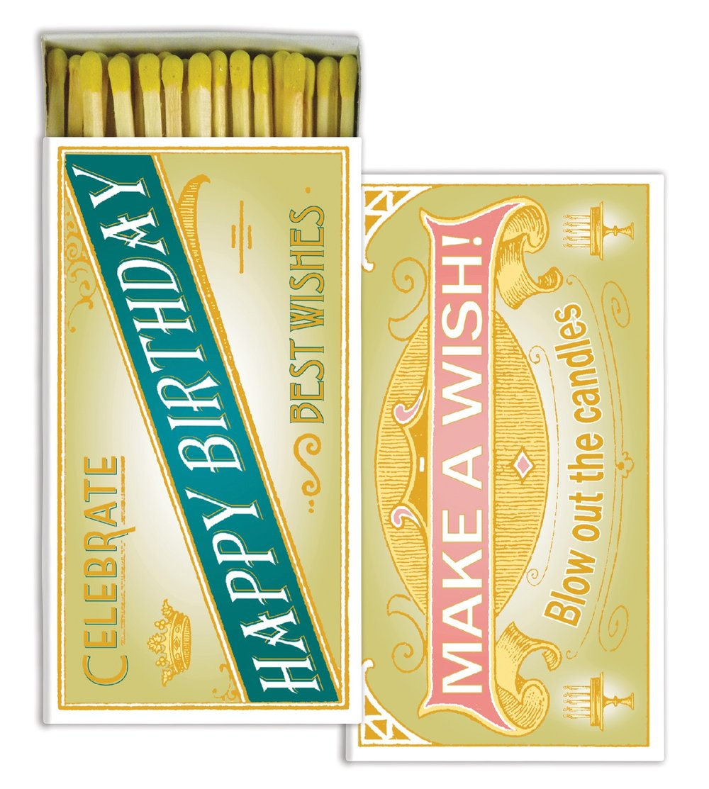 Happy Birthday Decorative Wood Matches from White and Fig