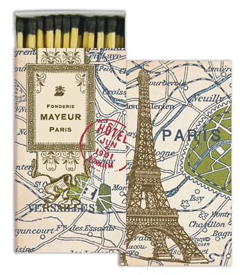 Paris Map Decorative Wood Matches from White and Fig