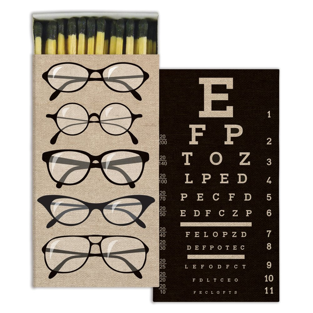 Eyeglasses/Eye Chart Decorative Wood Matches from White and Fig