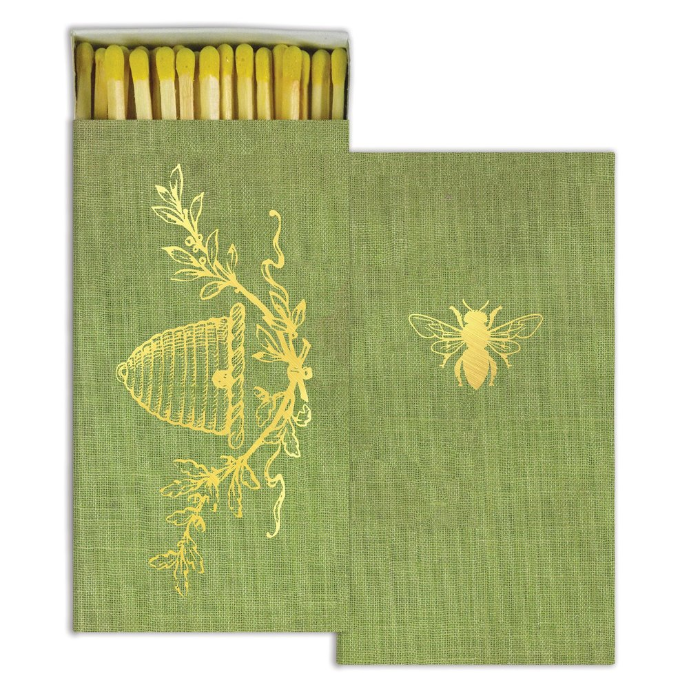 Bee/Beehive Decorative Wood Matches from White and Fig