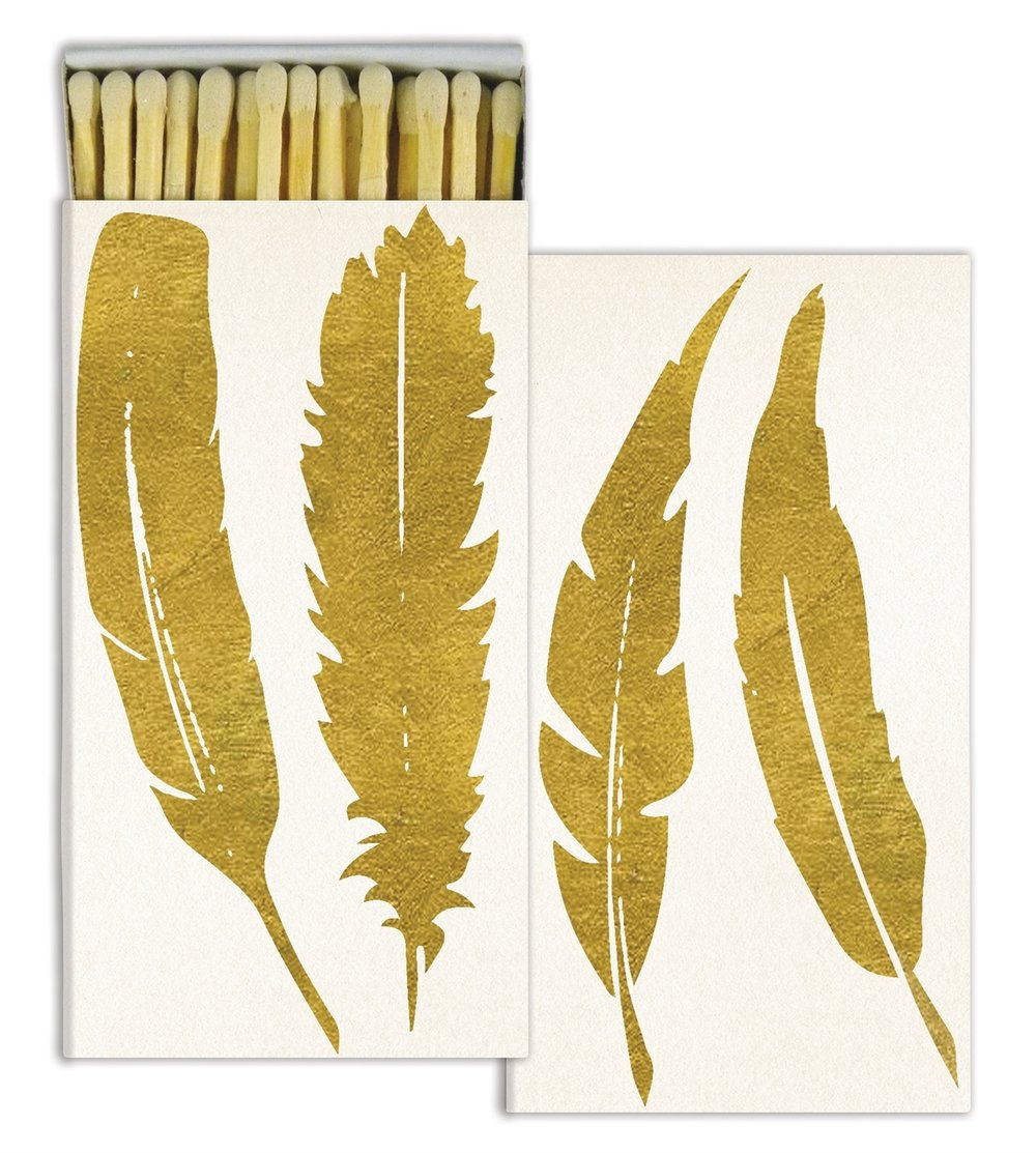 Gold Feather Decorative Matches from White and Fig