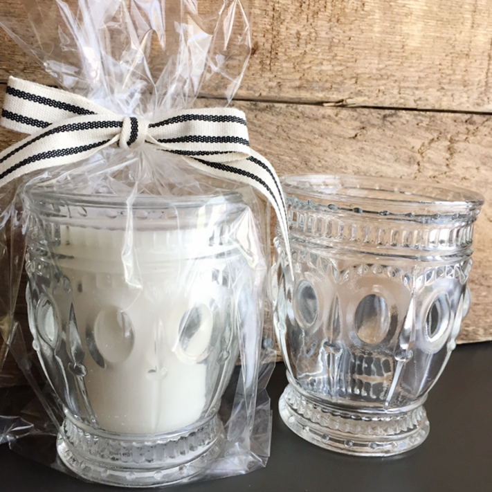 Glass Candle from White and Fig