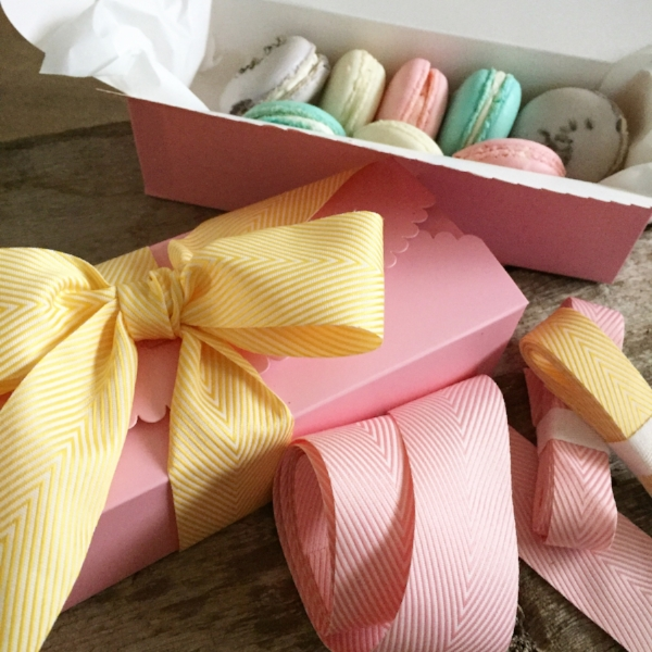Scallop Box in Pink from White and Fig with Spring Herringbone Wide Ribbon