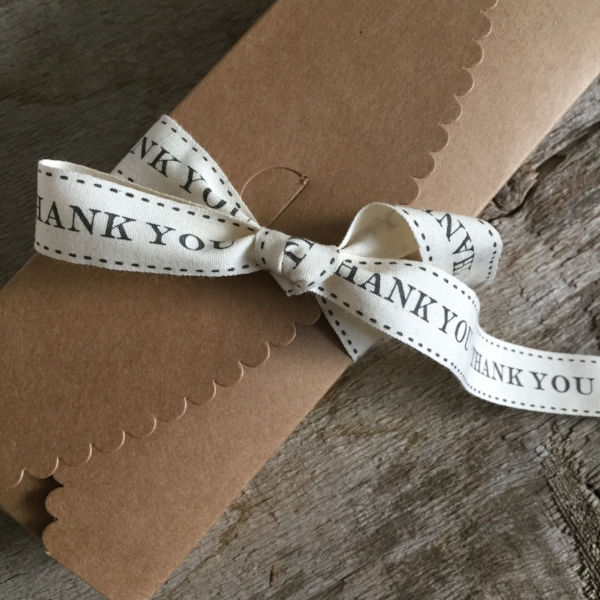 Scallop Box in Kraft Paper from White and Fig with Thank you Ribbon from Gifting Ribbon Set