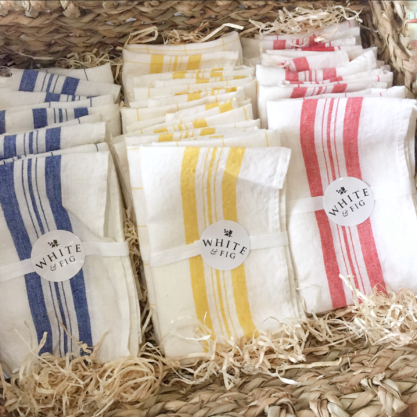 Irish Linen Handmade Towels from White and Fig