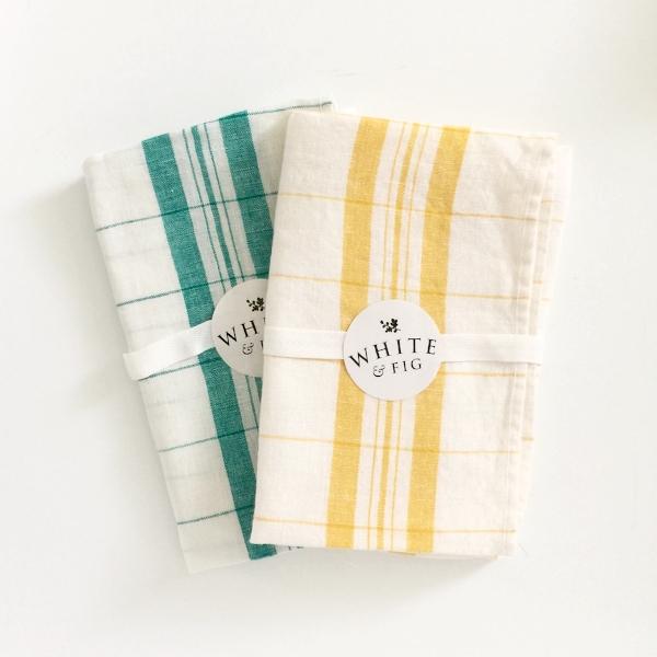 Irish Linen Handmade Windowpane Kitchen Towels  from White and Fig
