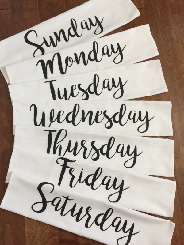 Days of the Week Tea Towel Set from White and Fig