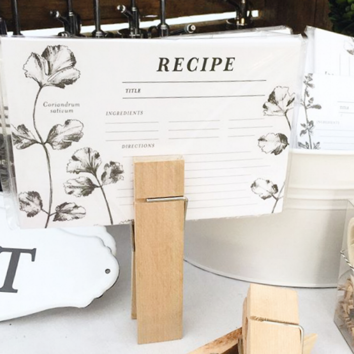 Wood Memo Clip and Recipe Cards from White and Fig